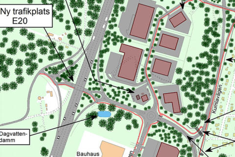 Ny trafikplats vid E20 norr om Marieberg