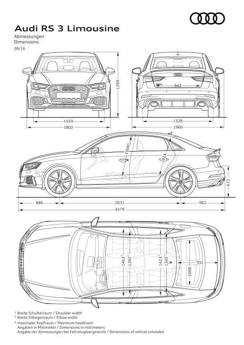 Audi RS 3 Limousine - dimensioner