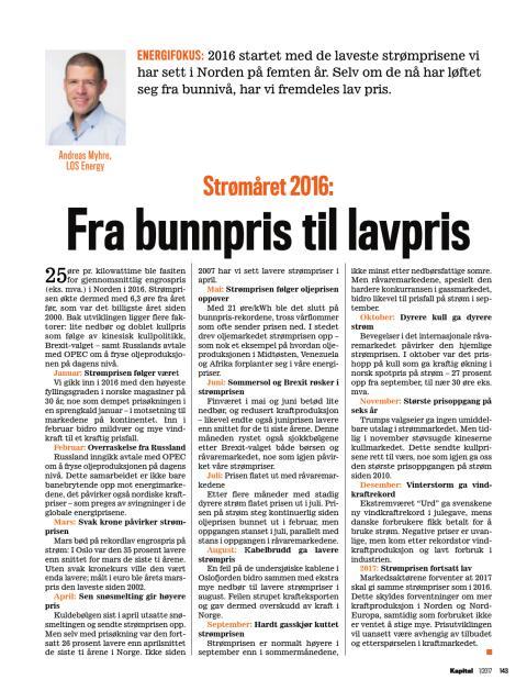 Presseklipp Kapital 2017 #01: Strømåret 2016: Fra bunnpris til lavpris