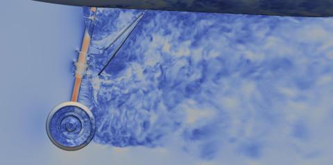 Bilden visar simulerat turbulent luftflöde kring landningsställ. (Bild: KTH)