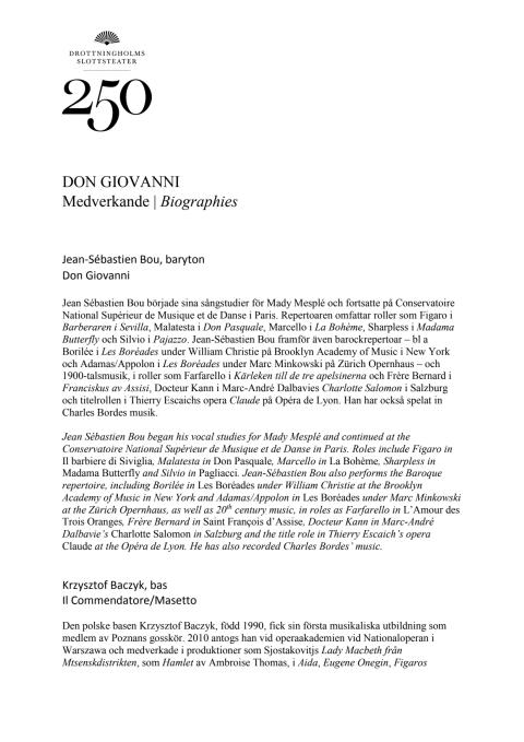 Medverkande Biographies Don Giovanni
