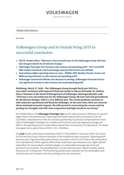 PM Volkswagen Group and its brands bring 2019 to successful conclusion