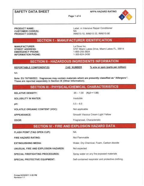 label.m MSDS Intensive Repair Conditioner