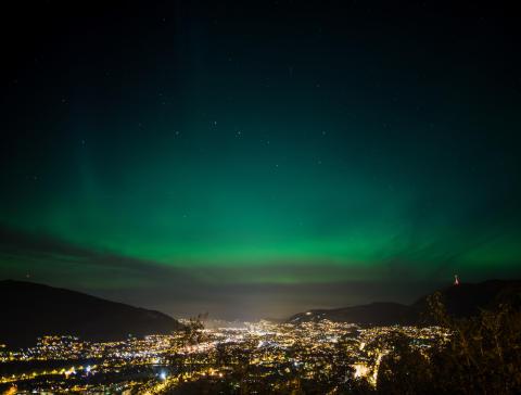 Nordlicht über der Hansestadt Bergen