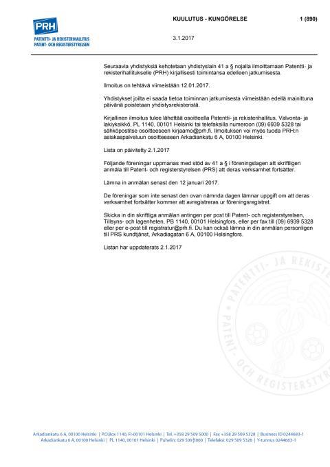 Päivitetty lista 2.1.2017 - Poistomenettelyssä olevat yhdistykset