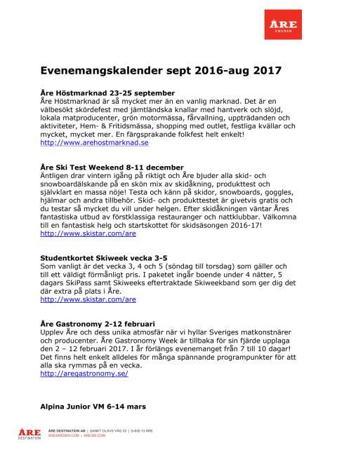 Eventkalender 2016-2017