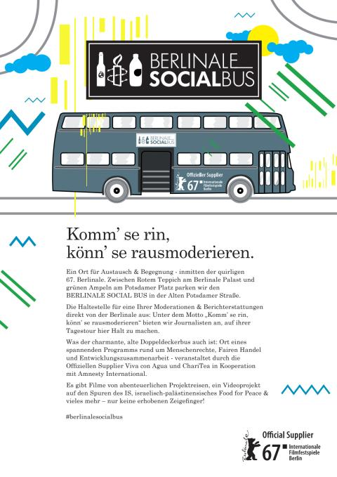 Viva con Agua auf der Berlinale 2017 im SOCIAL BUS mit Lemonaid & Amnesty International