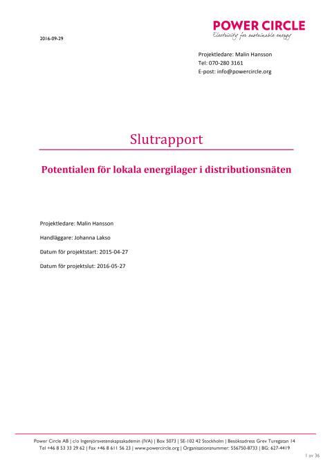 Lokala energilager i distributionsnäten - fullständig rapport