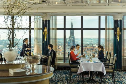 Offers an impressive view: The Panorama Restaurant, Maritim Hotel Ulm, Germany.