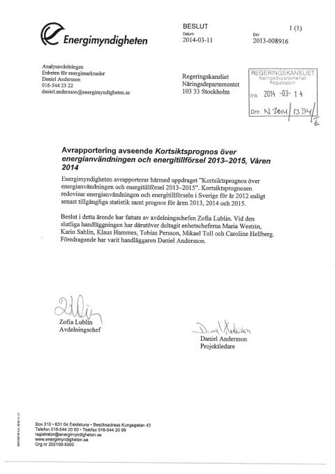 Energimyndighetens kortsiktsprognos (2013-008916