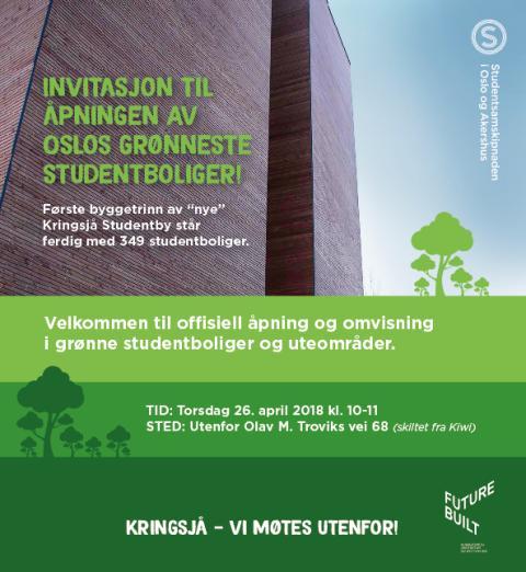 Invitasjon åpning byggetrinn 1 Kringsjå Studentby