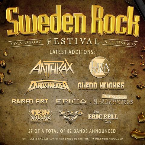Anthrax, Dirkschneider, Lita Ford med flera klara för Sweden Rock Festival!