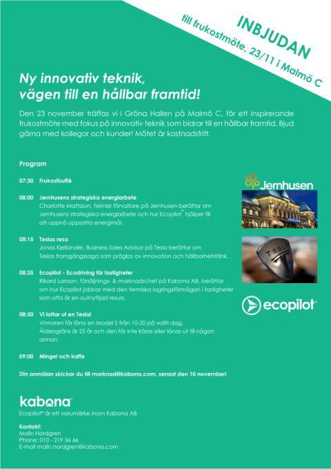 Frukostmöte: Ny innovativ teknik, vägen till en hållbar framtid!