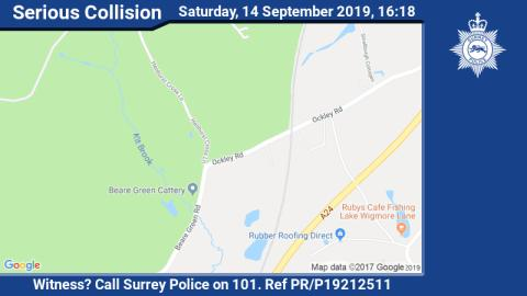 Appeal for witnesses following fatal collision on A29 in Dorking