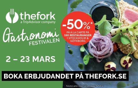 Succén är tillbaka: GastronomiFestivalen 2-23 mars | -50% på á la carte