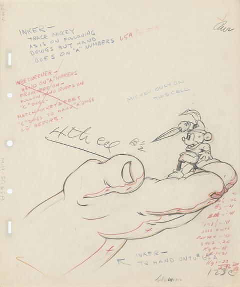 Brave Little Tailor, Bill Tytla (1938) © Disney / Graphite and color pencil on paper