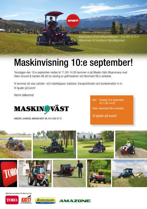 Maskinvisning 10 september hos Maskin Väst i Karlstad