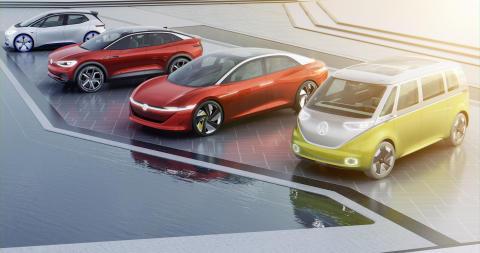Fyra konceptbilar från Volkswagens kommande helt eldrivna ID.-familj.