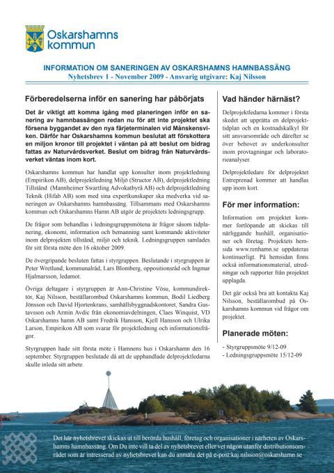 Nyhetsbrev 1 för sanering av Oskarshamns hamnbassäng