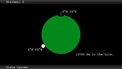 – Spelet är som minigolf fast för hela världen. Slår du bollen i en riktning så följer rörelsen en storcirkelbåge, alltså den väg som på ett klot är det närmaste, säger Pontus Hennerdal, doktor i geografi och forskare vid Stockholms universitet..