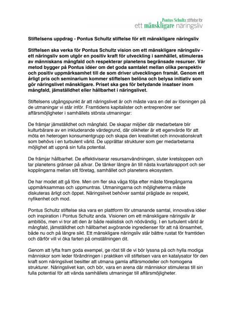 Stiftelsens uppdrag - Pontus Schultz stiftelse för ett mänskligare näringsliv