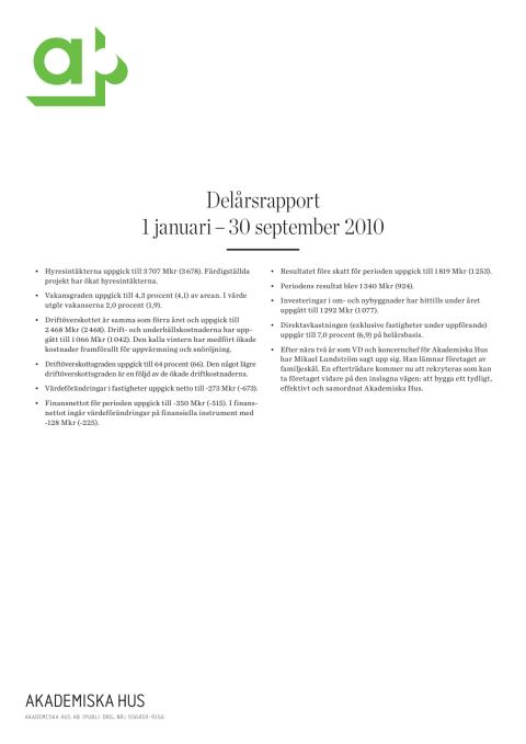 Delårsrapport 1 januari - 30 september 2010