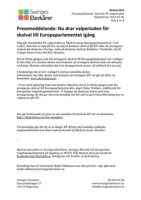 Pressmeddelande (Jönköping) : Idag startar valperioden för Skolval 2014s EP-val