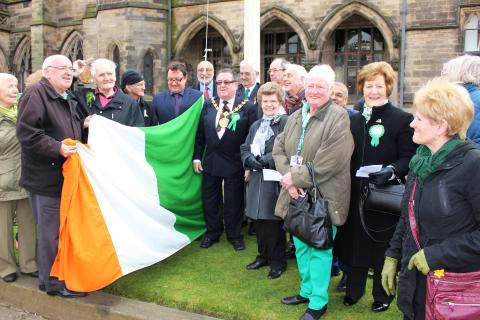 Saint Patrick's Day celebrated with raising of Irish flag
