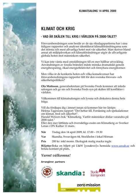INSTÄLLT! Inbjudan till Klimatsalong 14/4 kl 17.00 om krig och klimat