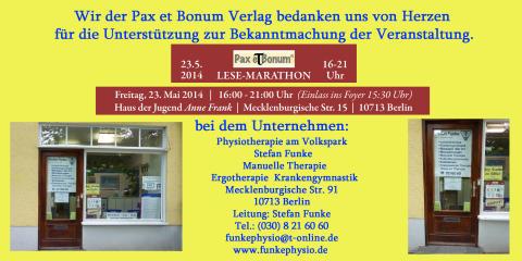 Wir der Pax et Bonum Verlag bedanken uns von Herzen bei Physiotherapie am Volkspark für die Unterstützung zur Bekanntmachung der Veranstaltung.