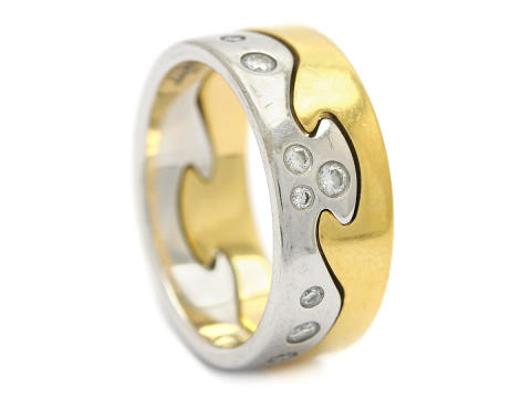 Moderna 12/12, Nr: 34, GEORG JENSEN, 2 ringar, Fusion, 18K guld/vitguld