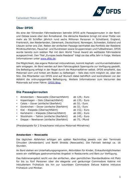 DFDS Faktenblatt 2018 Motorrad