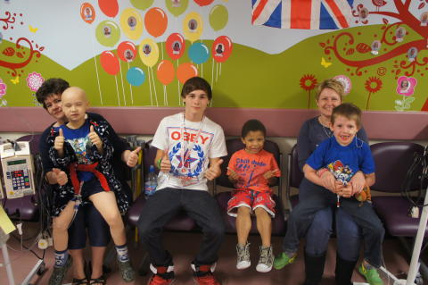 Ollie with patients on our oncology ward