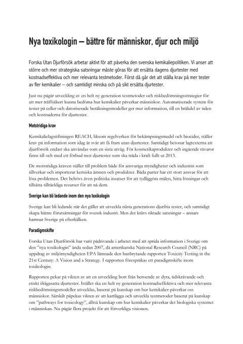 Nya toxikologin - bättre för människor, djur och miljö