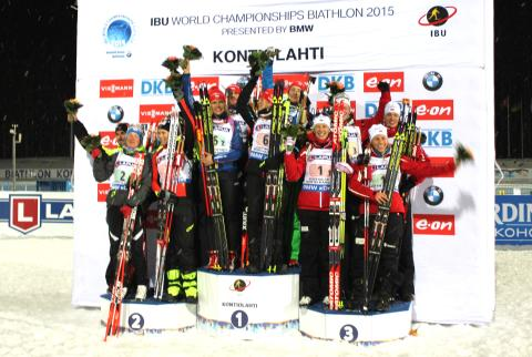 Mixed stafett, pallen, VM Kontiolahti 2015