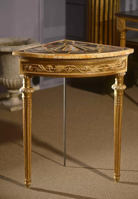 Hörnbord, ett par av Pehr Ljung, bordsskivor av pietra dura. Antikmässan, Thunér Antikhandel C02:17