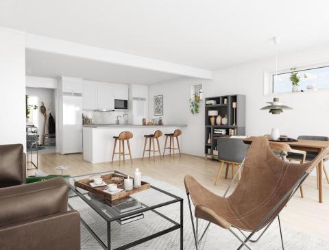 Brf Högbobäcken - 3D-bild av kök och vardagsrum