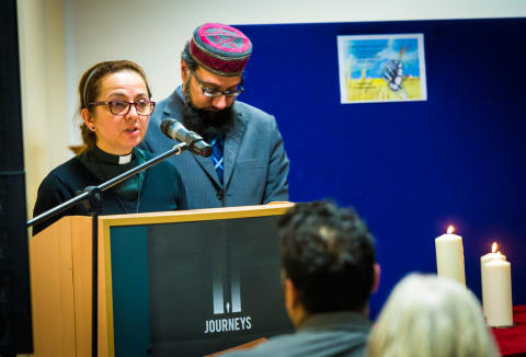 COMMEMORATION: Reverend Marcia Wall and Imam Irfan Chishti leading prayers for Holocaust Memorial Day in Rochdale borough