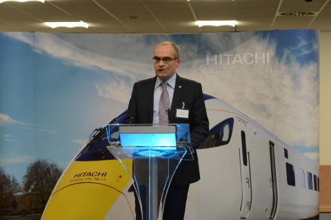 Hitachi Rail Europe COO Andy Barr welcoming guests to Southampton Port