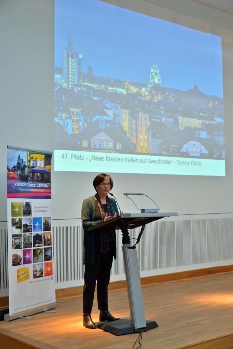Begrüßung von Susanne Metz (Direktorin der Leipziger Städtischen Bibliotheken)