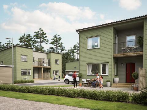 Illustration av entrésida med förstukvist & balkong, BoKlok Hjälmen i södra Hemlingby, Gävle.