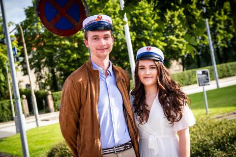 De første studenter på Handelsgymnasiet i Randers