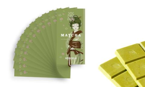 Beschle Matcha-techoklad, en grön och krämig choklad