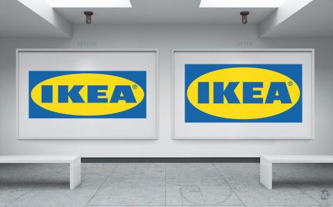 Märklig proportion på Ikeas nya logotyp
