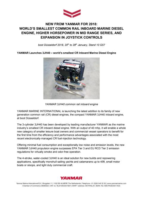 New from YANMAR for 2018