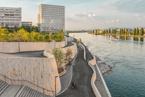 Basel Radweg: Der Elsässerrheinweg in Basel.