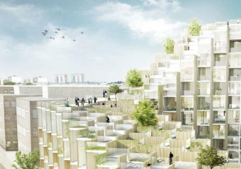 Vy över taklandskapet med en större sammanhängande terrass som blir gemensam för de boende. Illustration: Bjarke Ingels Group.