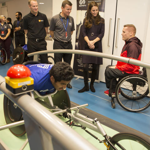 The Duchess of Cambridge, Patron of SportsAid, meets Paralympic champion David Weir at GSK's Human Performance Lab
