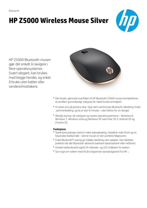 HP Z5000 trådløs mus dataark