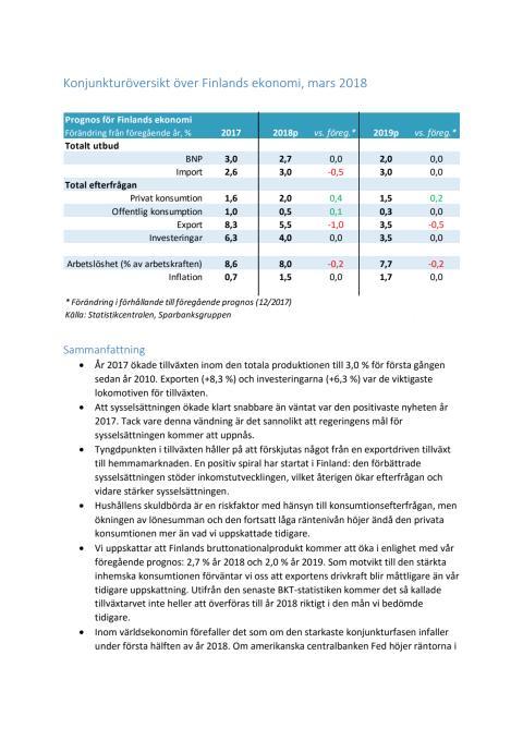 Konjunkturöversikt 1/2018